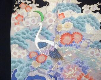 Vintage kimono S304, black, tomesode