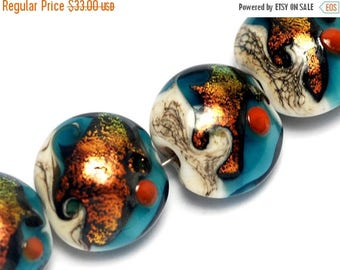 ON SALE 40% OFF Glass Lampwork Bead Set - Four Romantic Isle Waves Lentil Beads 10411512