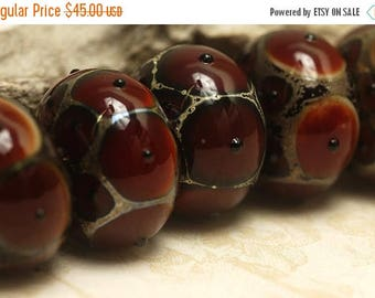 ON SALE 35% OFF Handmade Glass Lampwork Bead Set - Six Red Rondelle Beads 10704401
