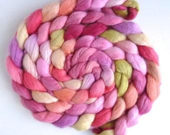 Polwarth/Silk Roving - Handpainted Spinning or Felting Fiber, Silk Bride