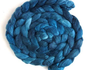 Pre Order Colorway, Polwarth/Silk 60/40 Roving - Handpainted Spinning or Felting Fiber, Teal Blue