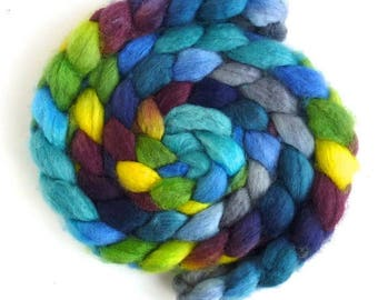 Superwash BFL Wool Roving - Hand Painted Spinning or Felting Fiber, Bright Light