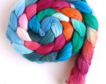 Merino/ Silk Roving (Top) - Handpainted Spinning or Felting Fiber, Spring Kiss,,,