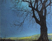 The Moon and the Maple Tree, original watercolor painting