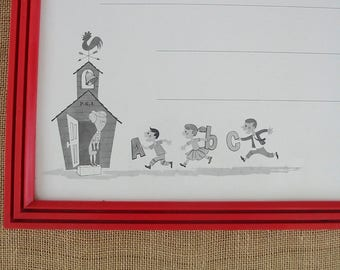 Vintage Child Whiteboard, Nursery Decor, Child Red Art, Vintage Dry Erase Board, Vintage Chalkboard, Vintage Blackboard, Back To School