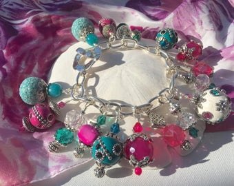 Handmade Chunky Fuchsia and Aqua Beaded Charm Bracelet, Custom Jewelry, Irish Expressions, Handmade Beaded Jewelry, One of a Kind Jewelry