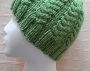 Bright Asparagus Green Cabled Hat--Matching Fingerless  Gloves also available