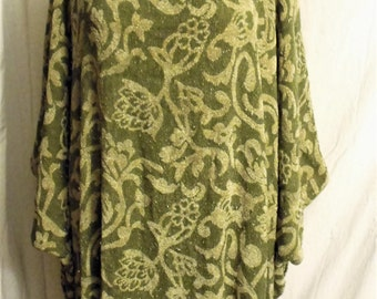 Oversize Chenille Dress-Caftan/ Squishy Soft Rayon Chenille/ Free Size Caftan/ Sagey Green Chenille Long Tunic/ Sheerfab Funwear