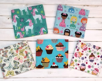 Reusable Snack Bags- Set of Five- Girl Mix- Unicorns, Princesses, Butterflies, Cupcakes, and Fairies