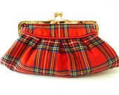 red tartan clutch, rare 70's vintage Royal Stewart wool, plaid purse, evening bag, Christmas wedding purse, plaid wallet, makeup bag