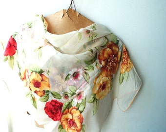 Boho vintage 50s white silk scarf with a red, yellow, pink flowers print.
