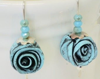 Handmade Rose Earrings, Polymer Clay Aqua Rose Earrings,  Floral Jewelry,  black and turquoise rose earrings, hand forged silver ear wires