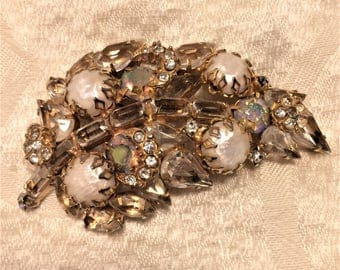 Vintage Leaf Brooch of Aurora Borealis and Clear Rhinestones and Baroque Pearls. It's 2 3/4 Inches Long. Unsigned But Has Schreiner Look D11
