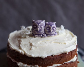 Two Tiny Owls in Porcelain with Lavender Purple Glaze - Wedding Cake Topper