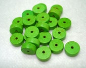 Green Dyed Synthetic Turquoise Heishi Flat Round 8x4mm Beads (Qty 24) - B3340