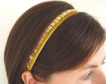 Gold Velvet Headband, Adult Bridesmaid Headband, Beaded Gold Narrow Ribbon Hairband, Womens 16mm Width Elastic Headband, Retro Style