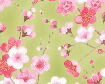 Sakura Blossoms Leaf Green 33171 15   Oriental Cherry Blossom fabric   Moda fabric