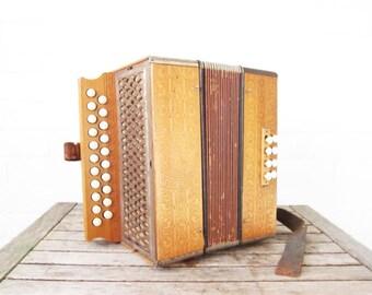 Vintage Accordion - Hohner Push Button Antique Diatonic Melodeon - Hohner Pokerwork Instrument - Blonde Squeezebox Accordeon Germany German