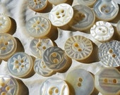 Vintage Buttons - Amazing mother of pearl, 26 tiny to small size assorted carved  designs,  some Victorian(feb 141 17)