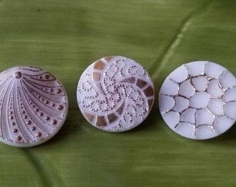 Vintage Buttons - lot of 3 milk glass hand painted medium size pressed glass floral design.  ( feb 523 17)