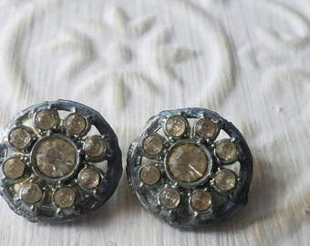 Vintage Buttons - 2 beautiful matching 3/ inch rhinestone flower design, silver finish metal,  (mar 339 17)