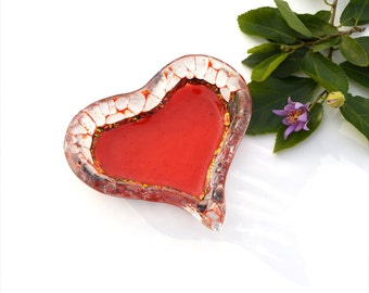 Fused glass heart dish, purple, red, dichroic red, transparent