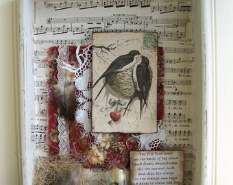 Original Bird Collage Vintage Shadow Box Vintage Drawer Assemblage Vintage Bird Decor Altered Art  Assemblage Original Mixed Media