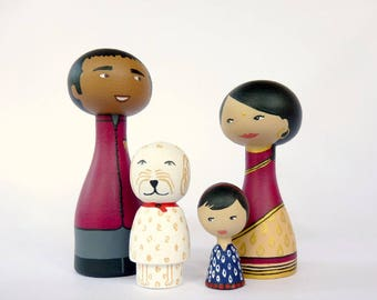 FREE SHIPPING Custom Family Portrait of 4 Dolls children or pets - Personalized - traditional Indian clothes sari Dhoti
