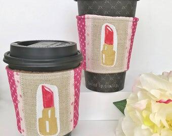 Lipstick Coffee Sleeve Gift Set, Cute Coffee Cozy, Ecofriendly Coffee Sleeve, Coffee Cozy, Gifts for Her, Bridesmaid Gifts