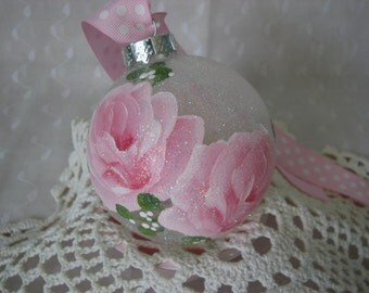 Frosted Glass Ball Ornament Hand Painted Pink Roses Glitter Cottage Chic