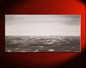 Black and White Seascape Grey Ocean Art Large Ocean Painting Calm Seas Wide Layout 48x24 Mails Fast