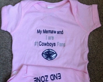 Personalized Dallas Cowboys Football Baby Girls Pink Infant Newborn Creeper