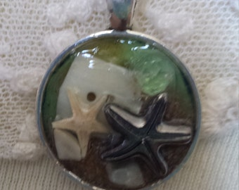Nautical real starfish and  sand aqua silver pendant necklace