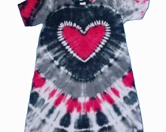 Girls Dress in Red, Black and Gray Tie Dye with a Red Tie Dye Heart- Girls size 8 and READY TO SHIP