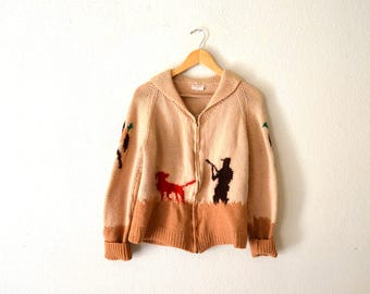 1950's Hunting Themed Hand-Knit Wool Sweater