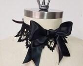 Gothic Lolita Lace Choker Necklace - Goth Victorian Steampunk- Hypoallergenic Handmade HairRibbon-Custom to Order