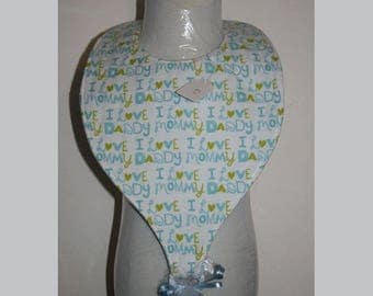 "Baby Bibs, Pacifier Bibs, Bibs with Pacifier, Bibs, Pacifier, "" I Love Daddy, I Love Mommy"""