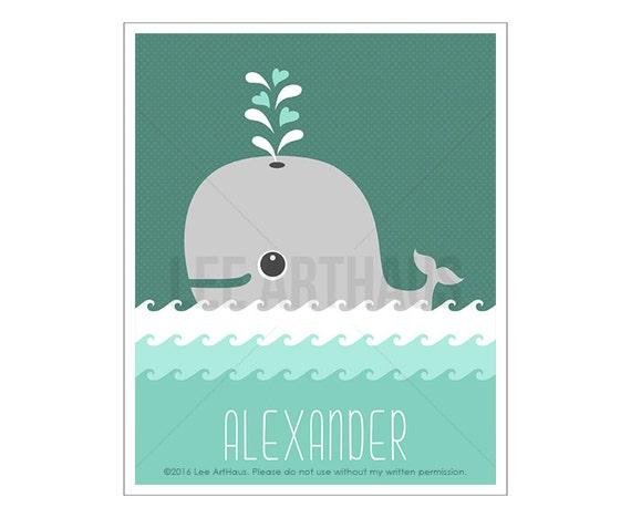 118P Whale Nursery Art - Personalized Gray Whale Wall Art - Under the Sea Theme - Nautical Nursery - Custom Baby Boy Gift - Whale Print