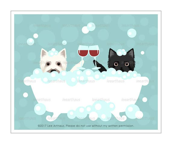203D Wine Art - Two Cairn Terriers with Wine Glasses Wall Art - Dogs Toasting Wine Glasses - Bath Art - Anniversary Gift - Cairn Terrier Art