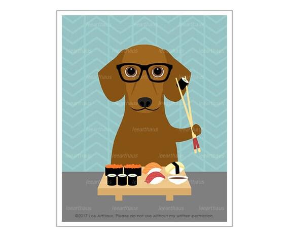 285D Dachshund Art Print - Red Dachshund Dog Eating Sushi Wall Art - Dachshund Lover Gift - Dachshund Decor - Sushi Print - Funny Dog Art