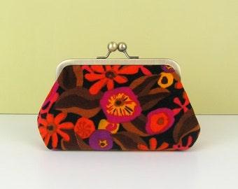 """Clutch purse in Liberty fabric, Clutch bag in vintage Liberty velvet fabric, Evening bag in Liberty fabric, Velvet clutch purse, 6"""" frame"""