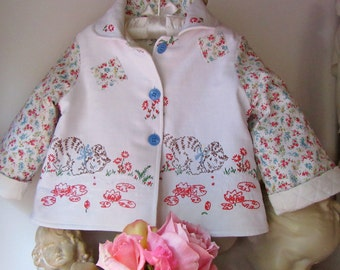 Size 1 Vintage Embroidered Baby Jacket With Kittens