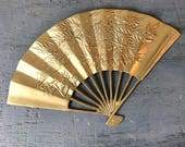 vintage brass fan - phoenix bird - chinoiserie Egyptian - gold metal wall hanging
