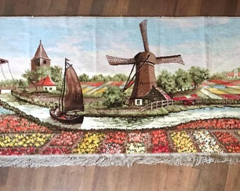 vintage rug - woven tapestry wall hanging - windmill canal tulips Dutch landscape