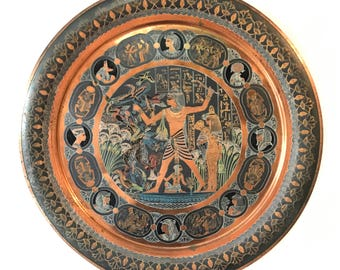 vintage copper tray - large round Egyptian etched painted - boho metal wall hanging