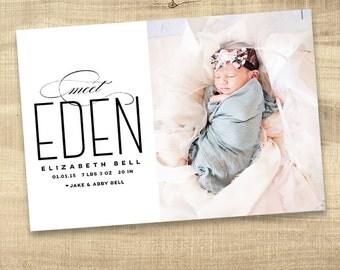 birth announcement, photo birth announcement, baby announcement, printable announcement, modern birth announcement, digital announcement