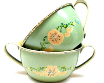 1930s Tin Toy Cream & Sugar bowls, Art Nouveau flowers by Ohio Art.