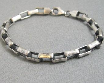 ON SALE - Heavy sterling silver rectangular box chain, oxidized chain bracelet for women