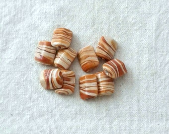 13 x 9 mm Glass Yellow and Brown Striped Beads - Set of 10