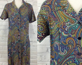 1960s Paisley Swirl Button-Front Cotton Dress, size XL